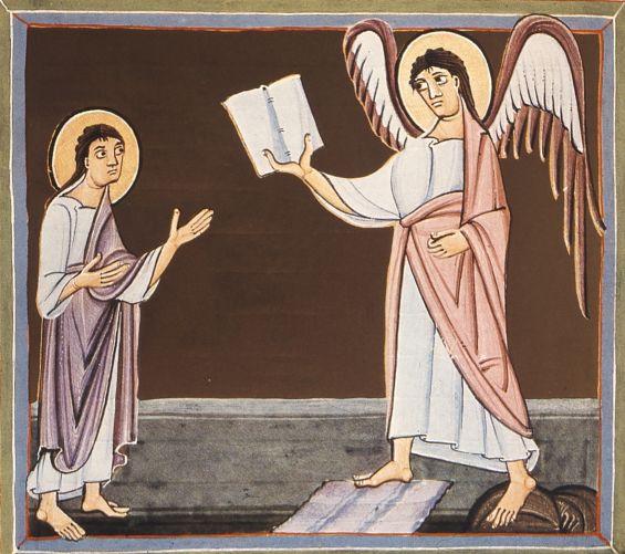 Bamberg Apocalypse Folio025v Angel With Little Book