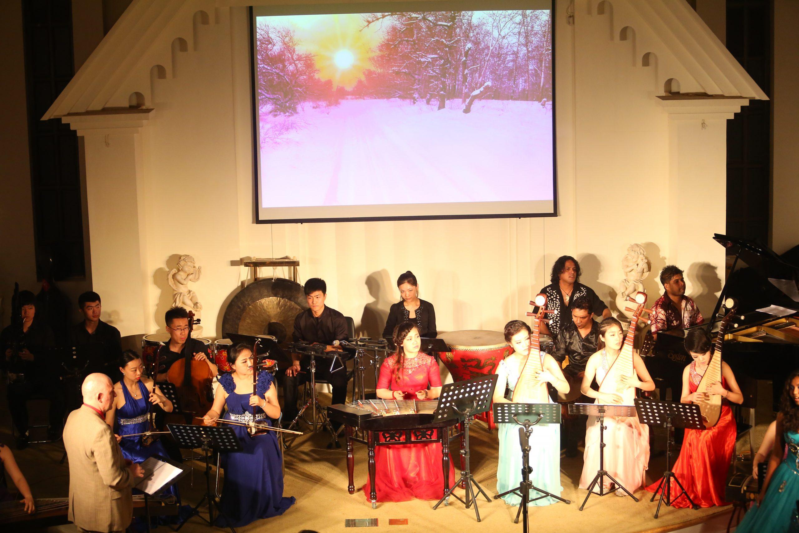 """Juscheld composer of the Oratorio Apocalypsis Iesu rehearses in Xi An with his """"Asian Ensemble"""""""